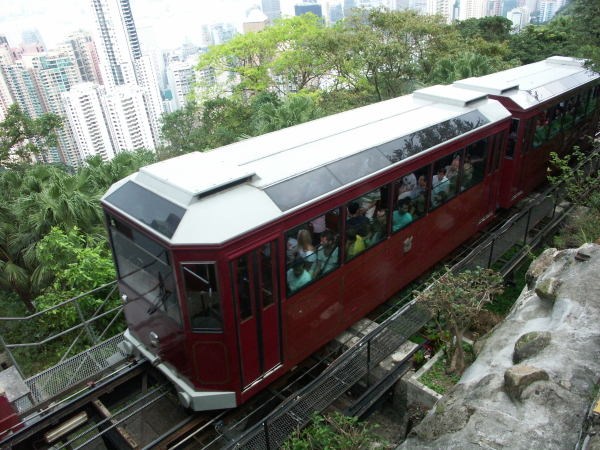 Hong Kong, the cable car up to the peak